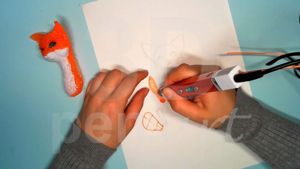 Лисёнок 3D ручкой. Основы лап