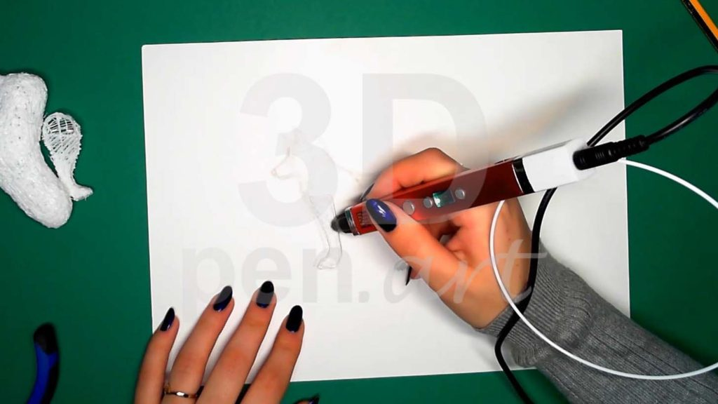 Хаски 3D ручкой. Каркас передних лап