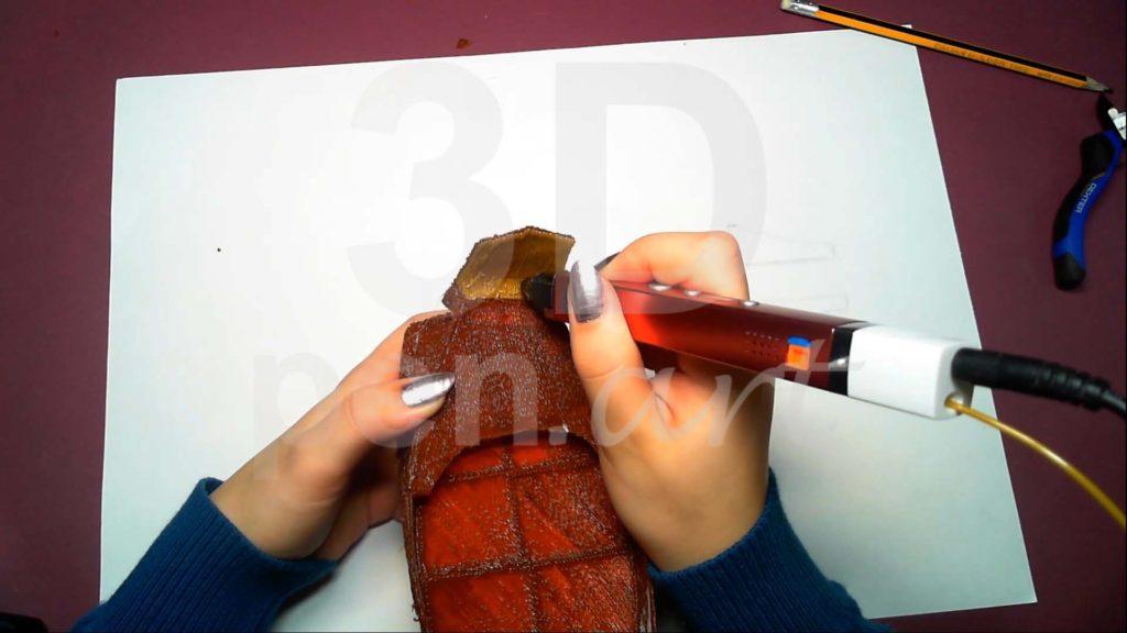 Корабль 3D ручкой. Штриховка гакаборта с внутренней стороны