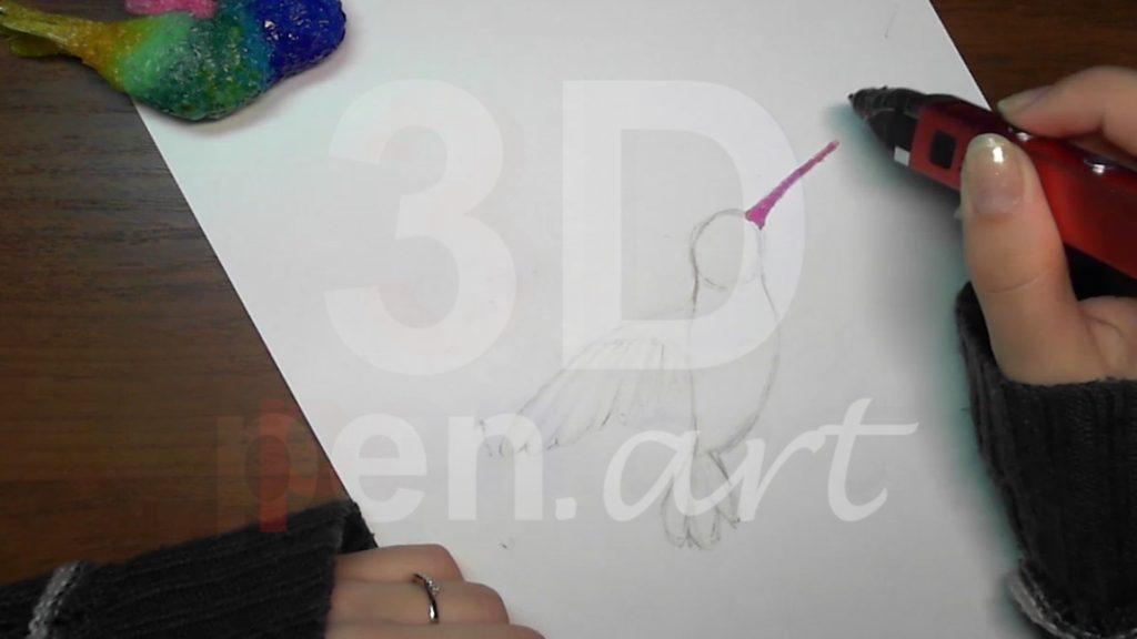 Колибри 3D ручкой. Клюв