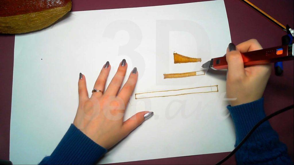 Корабль 3D ручкой. Штриховка бортиков кормы
