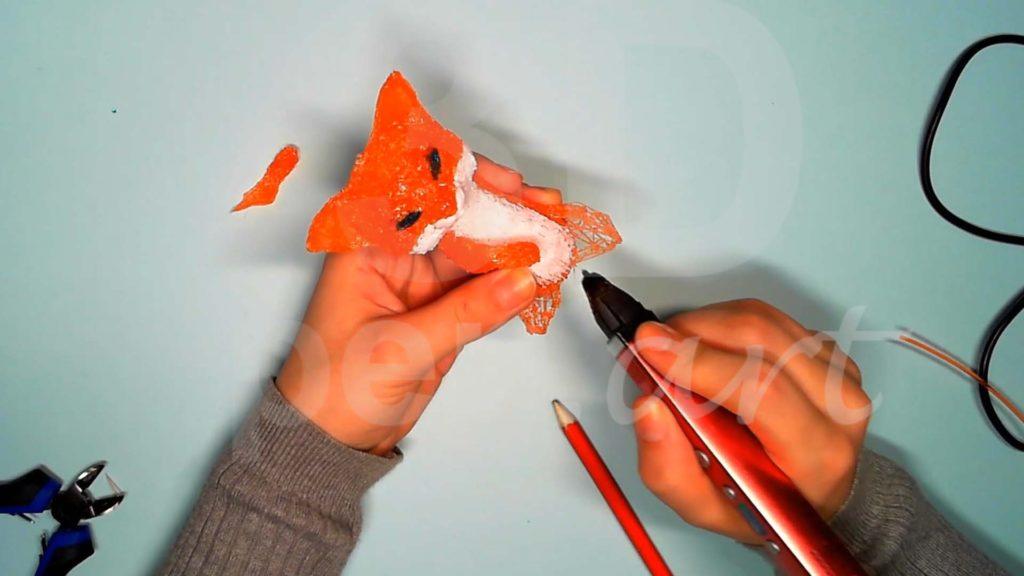 Лисёнок 3D ручкой. Присоединяем детали задних лап к телу