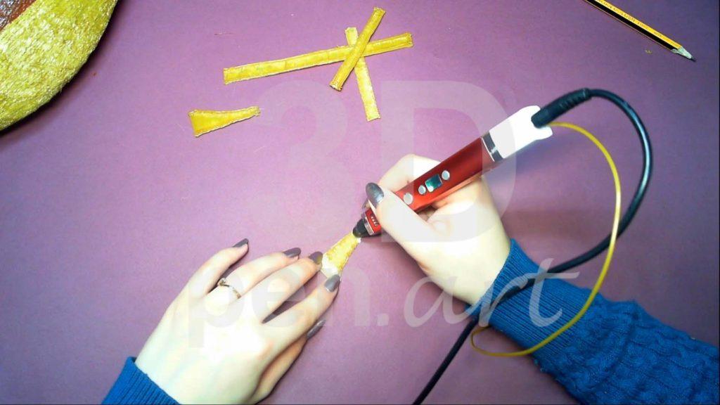Корабль 3D ручкой. Штриховка бортиков с обратной стороны