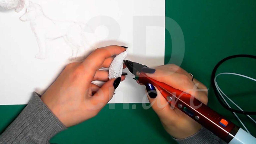 Хаски 3D ручкой. Штриховка хвоста.
