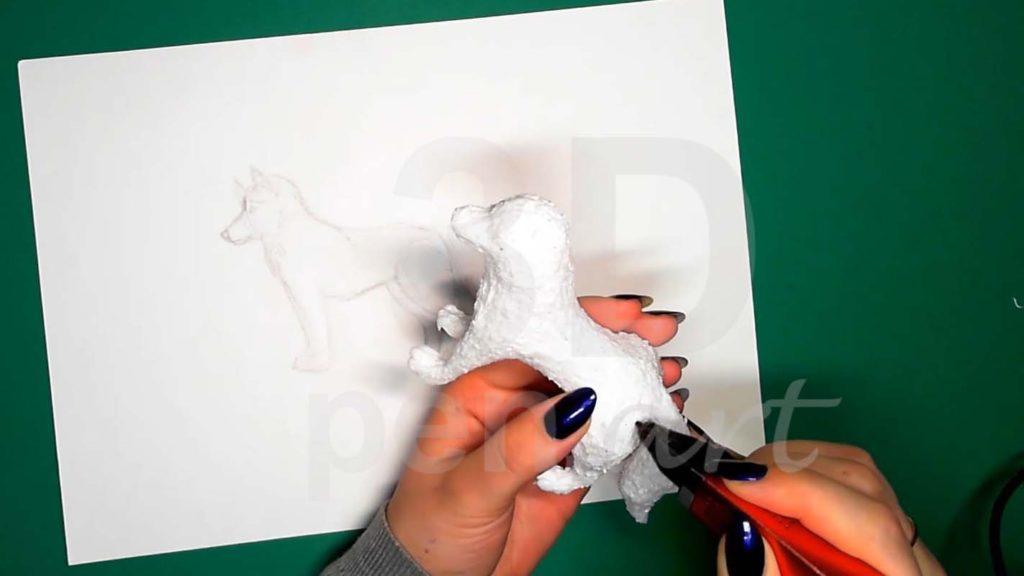 Хаски 3D ручкой. Присоединяем хвост