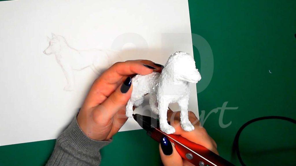 Хаски 3D ручкой. Детализация лап