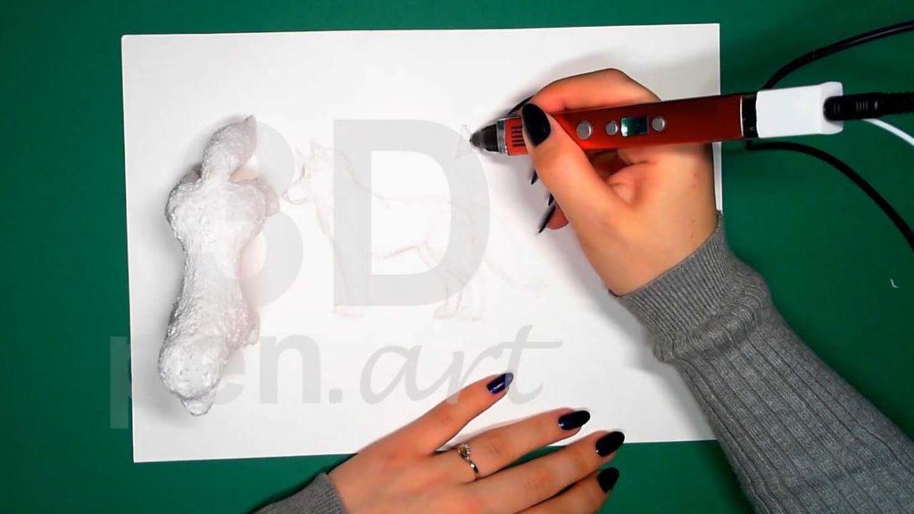 Хаски 3D ручкой. Штриховка ушей