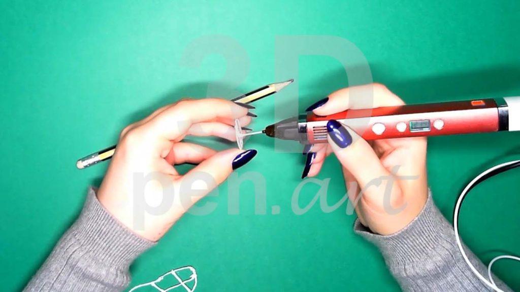 Хаски 3D ручкой. Каркас головы. Центральная прямая