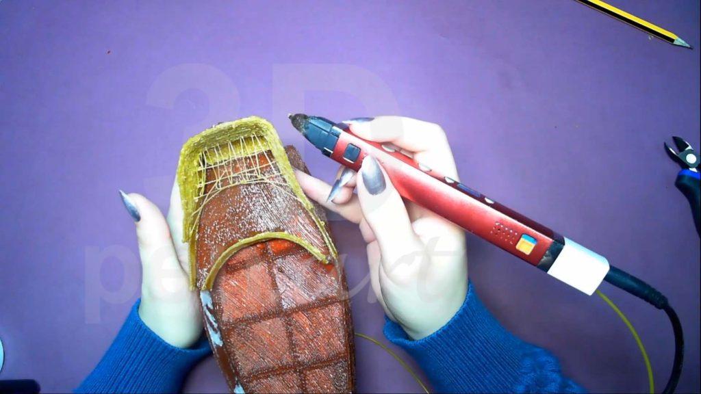 Корабль 3D ручкой. Каркас кормы