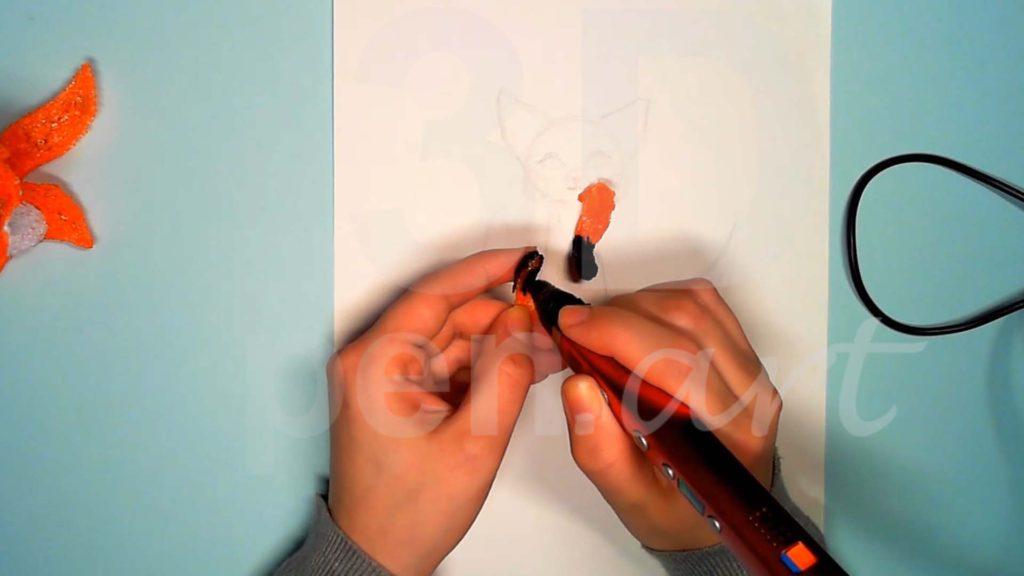 Лисёнок 3D ручкой. Детализация верхних лап