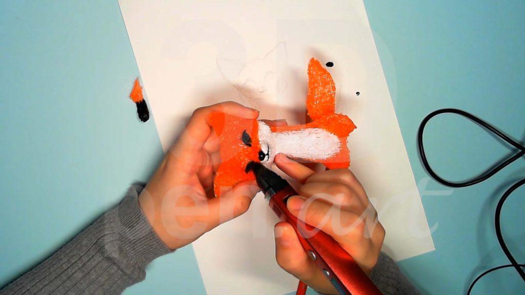 Лисёнок 3D ручкой. Детализация лица