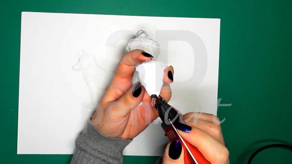 Хаски 3D ручкой. Детализация черным