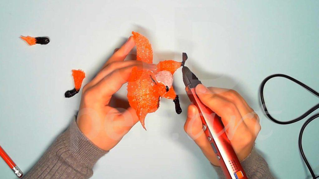 Лисёнок 3D ручкой. Присоединяем детали задних лап