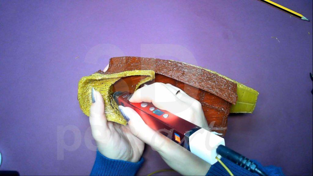 Корабль 3D ручкой. Каркас и штриховка пустого пространства кормы