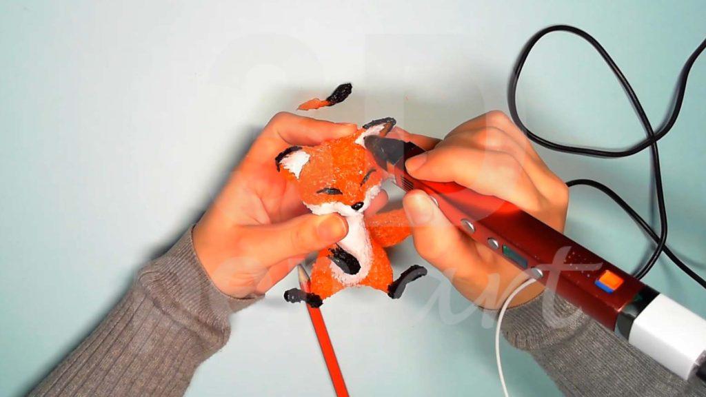 Лисёнок 3D ручкой. Детализация ушей