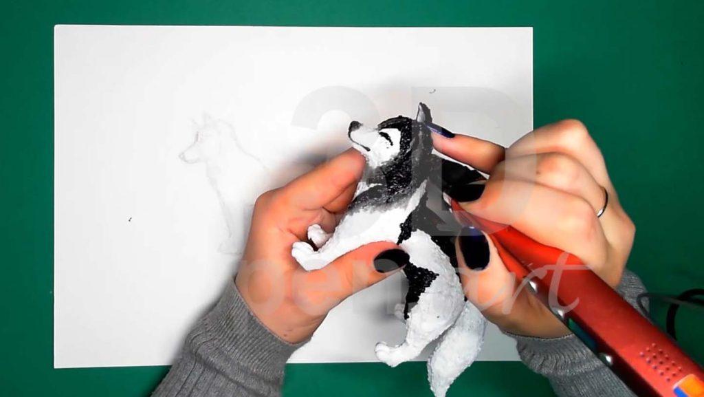 Хаски 3D ручкой. Детализация серым