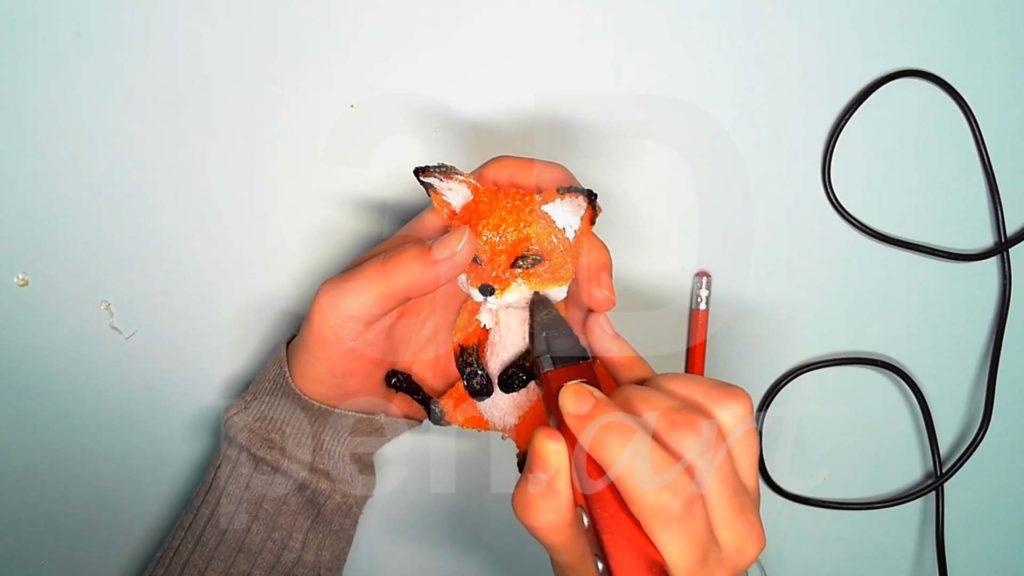 Лисёнок 3D ручкой. Сглаживаем переходы прозрачным