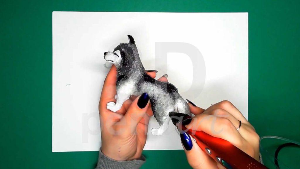 Хаски 3D ручкой. Смягчаем переходы прозрачным цветом