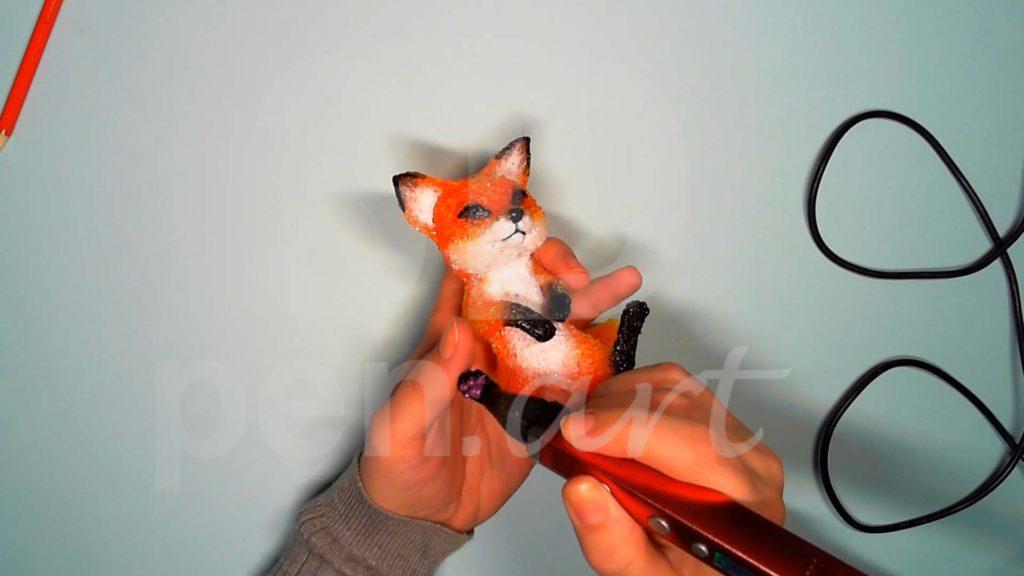 Лисёнок 3D ручкой. Рисуем следы лапок