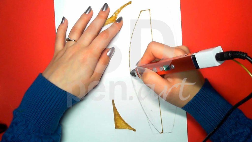 Корабль 3D ручкой. Штриховка второй части основы