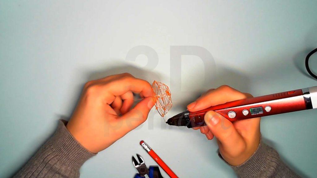 Лисёнок 3D ручкой. Каркас головы. Паутинка