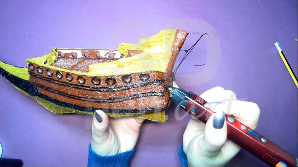 Корабль 3D ручкой. Каркас гакаборта
