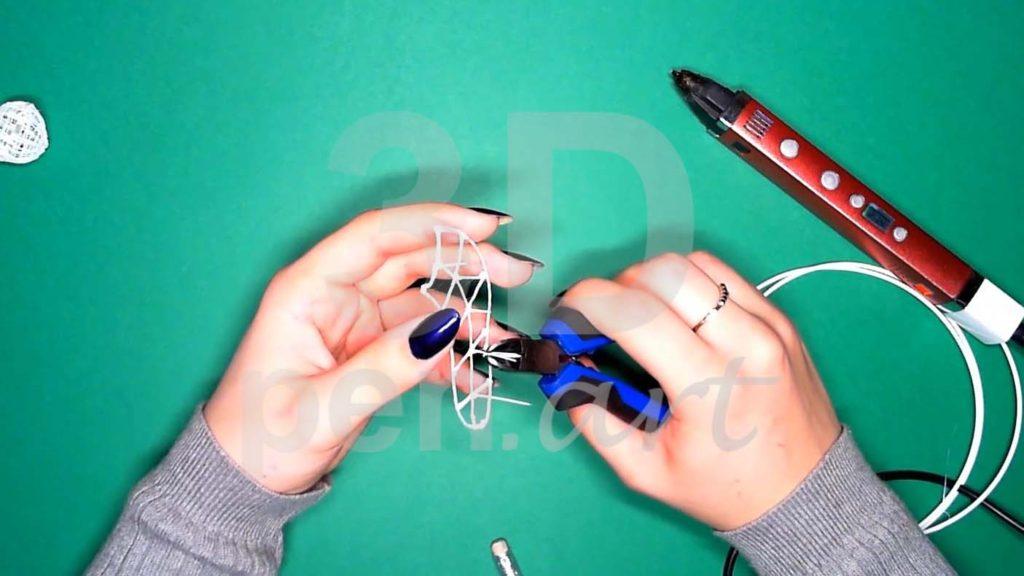 Хаски 3D ручкой. Каркас тела. Подрезаем линии
