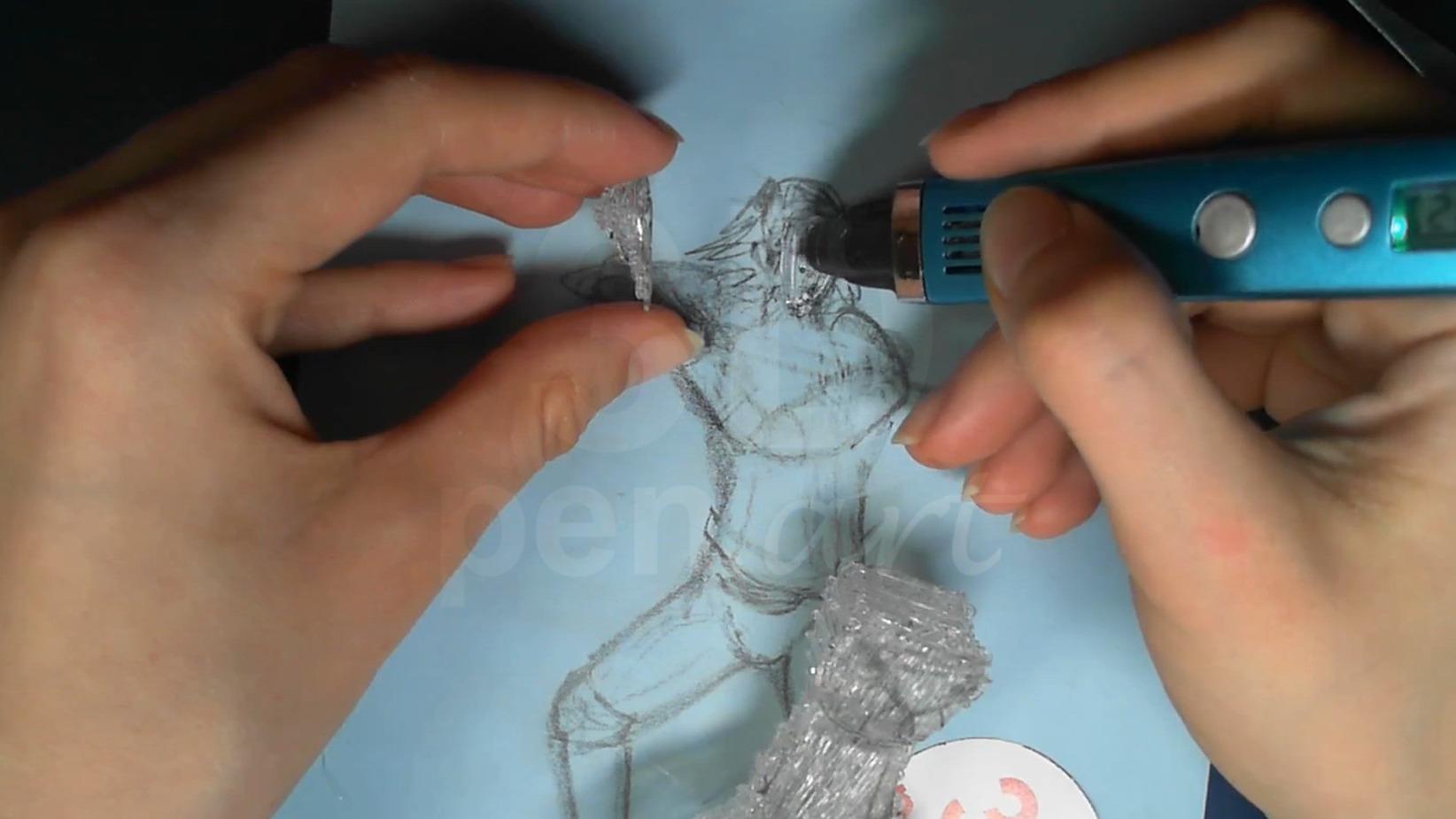Ведьмак 3D ручкой. Делаем объёмный затылок и заштриховываем лицо
