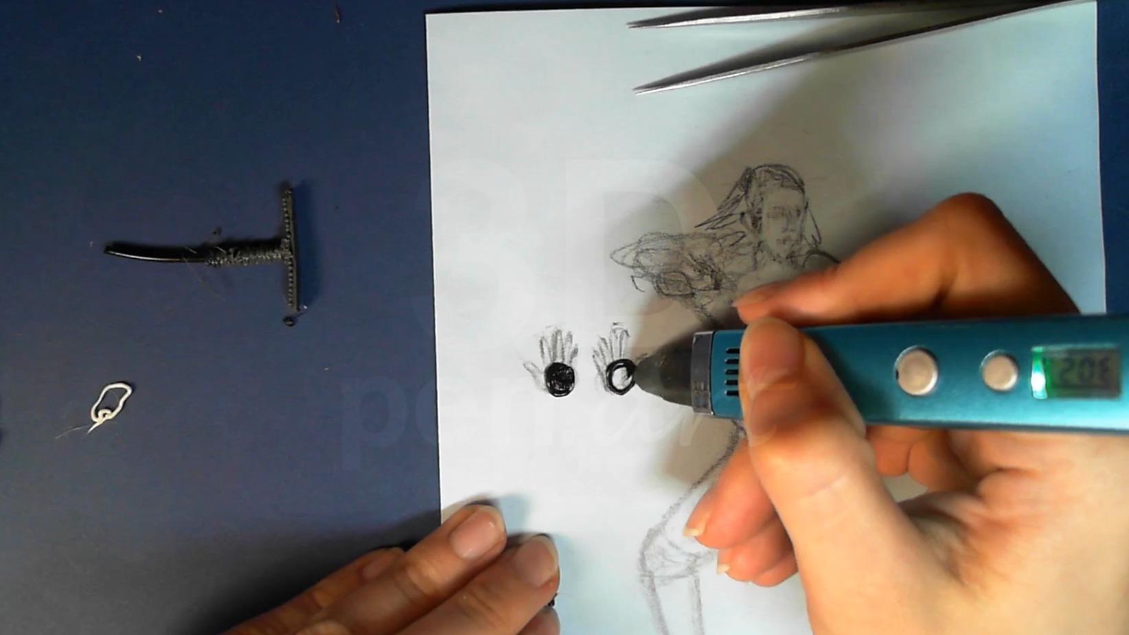 Ведьмак 3D ручкой. Заштриховываем ладони
