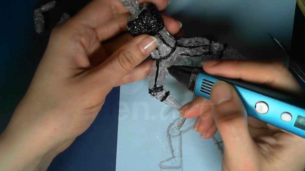 Ведьмак 3D ручкой. Обозначаем рисунок и детали брони ног