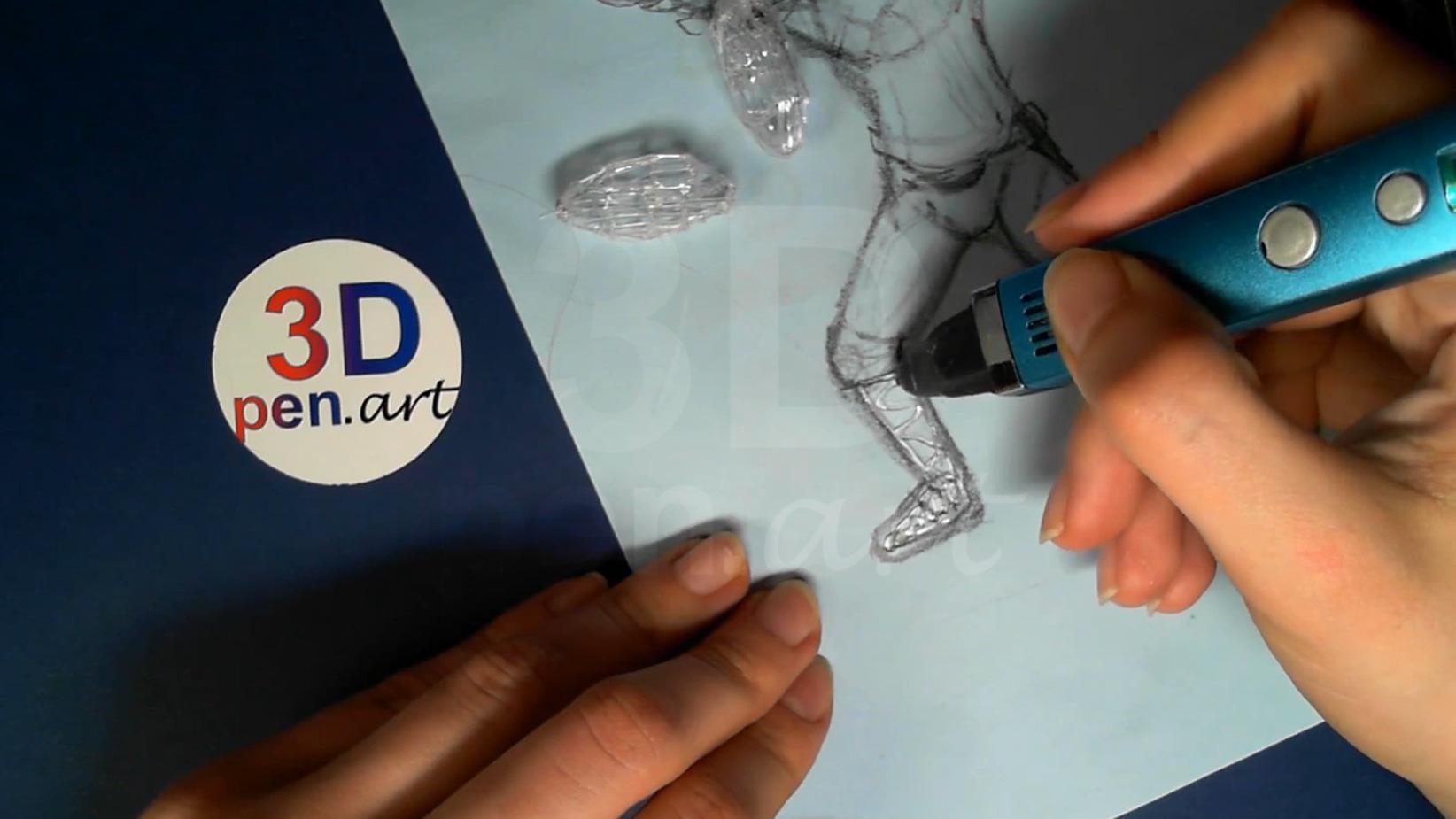 Ведьмак 3D ручкой. Основание голени и стопы