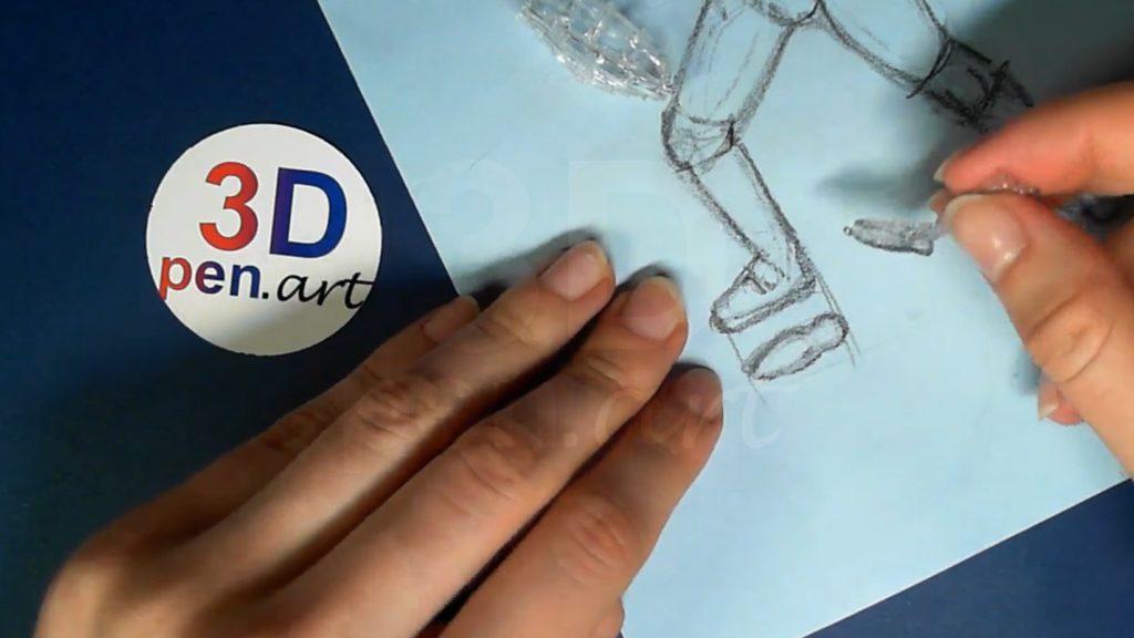 Ведьмак 3D ручкой. Прикрепляем подошву