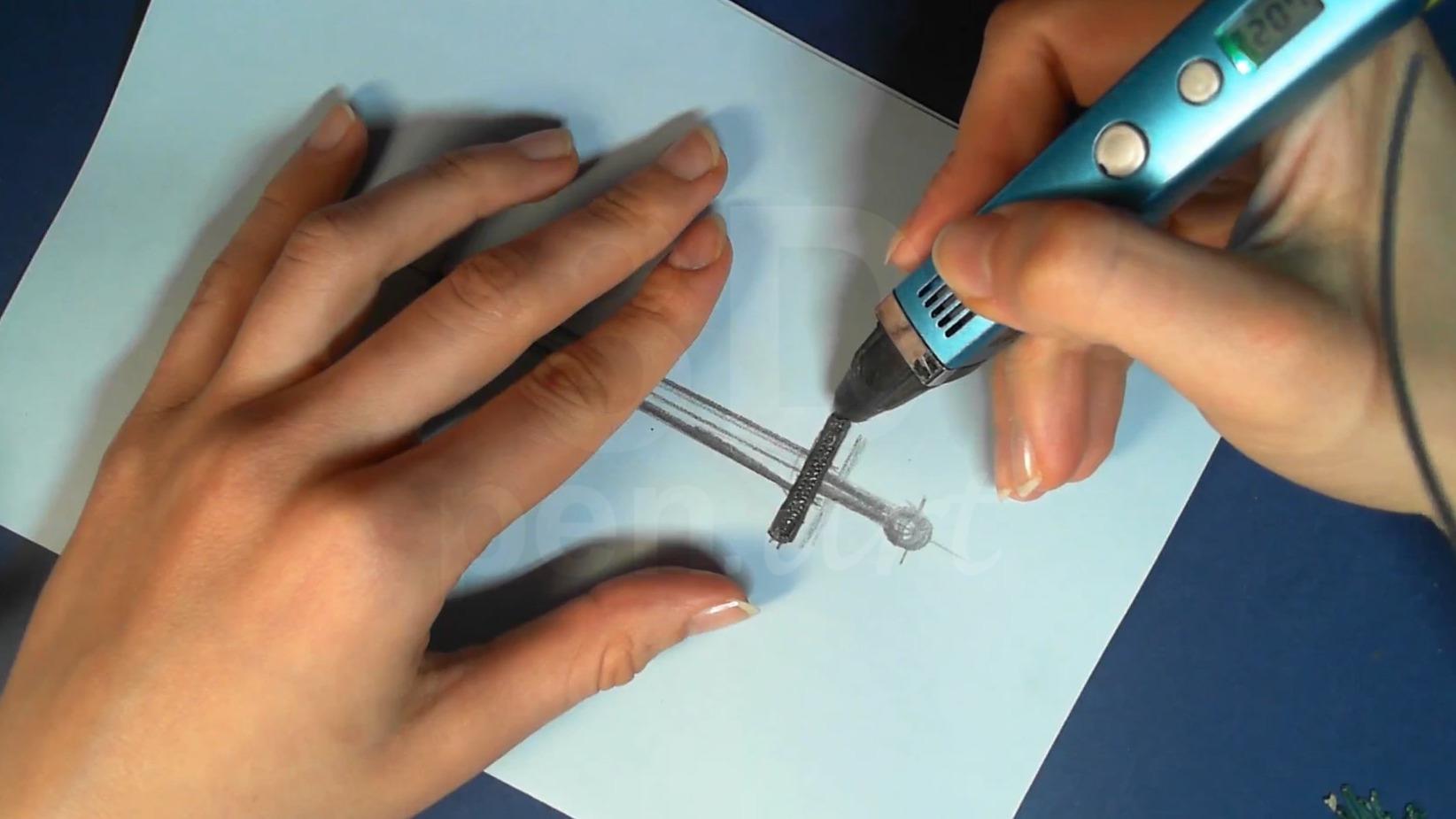 Ведьмак 3D ручкой. Рисуем основание рукояти меча