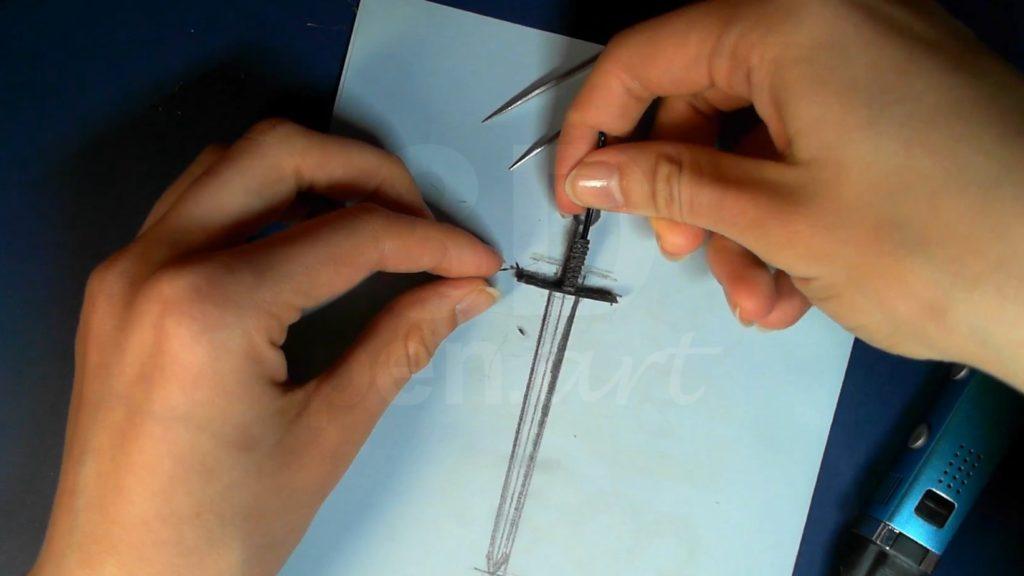 Ведьмак 3D ручкой. Соединяем части рукояти