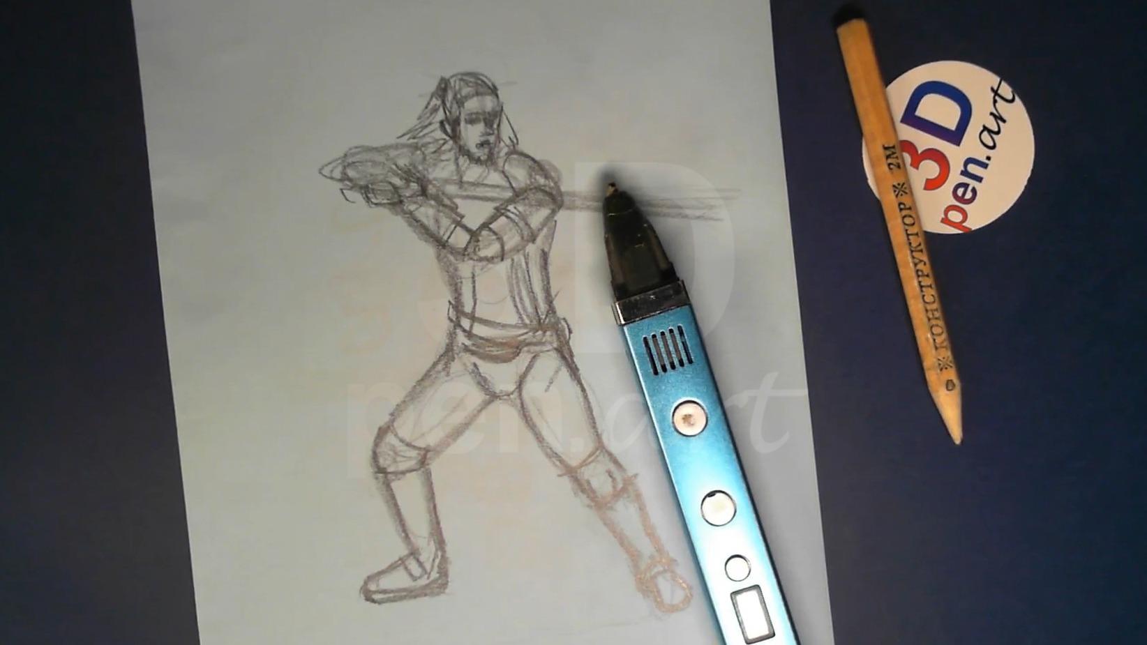 Ведьмак 3D ручкой. Эскиз