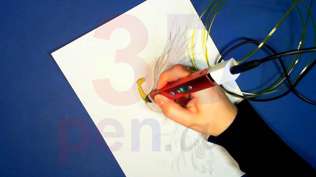 Феникс 3D ручкой. Штриховка головы и шеи