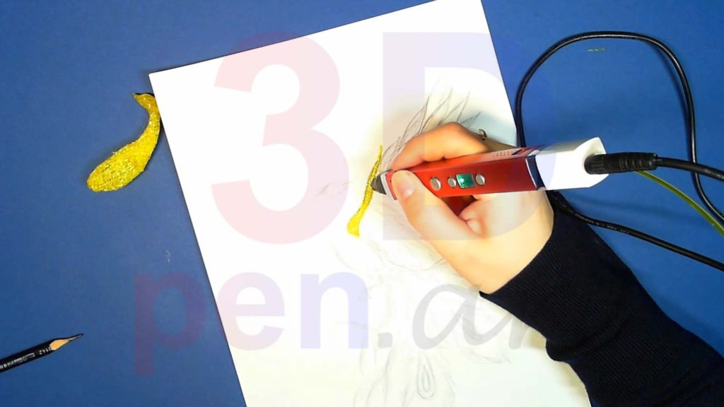 Феникс 3D ручкой. Штриховка основы крыла