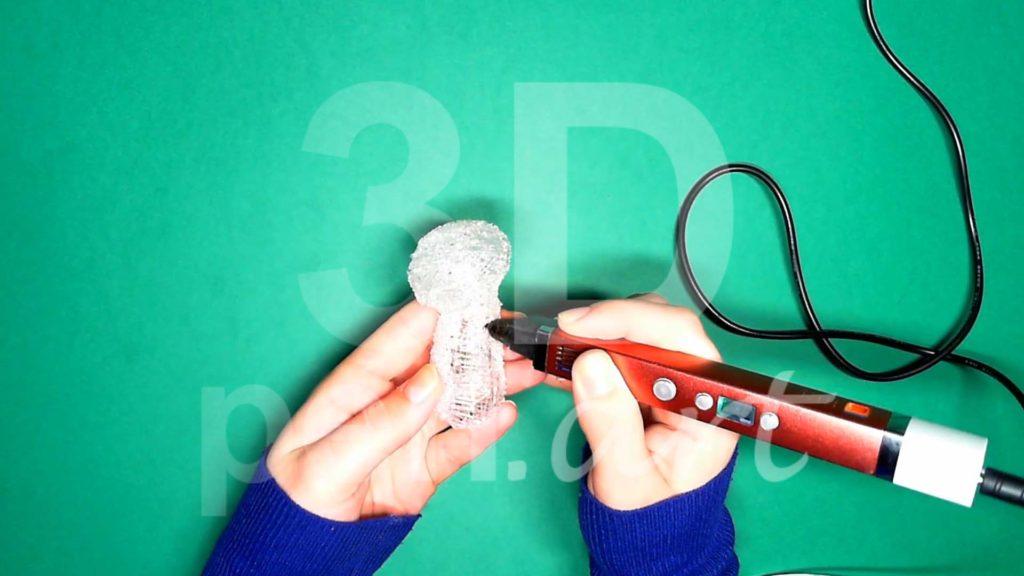 Обезьяна 3D ручкой. Черновая штриховка туловища
