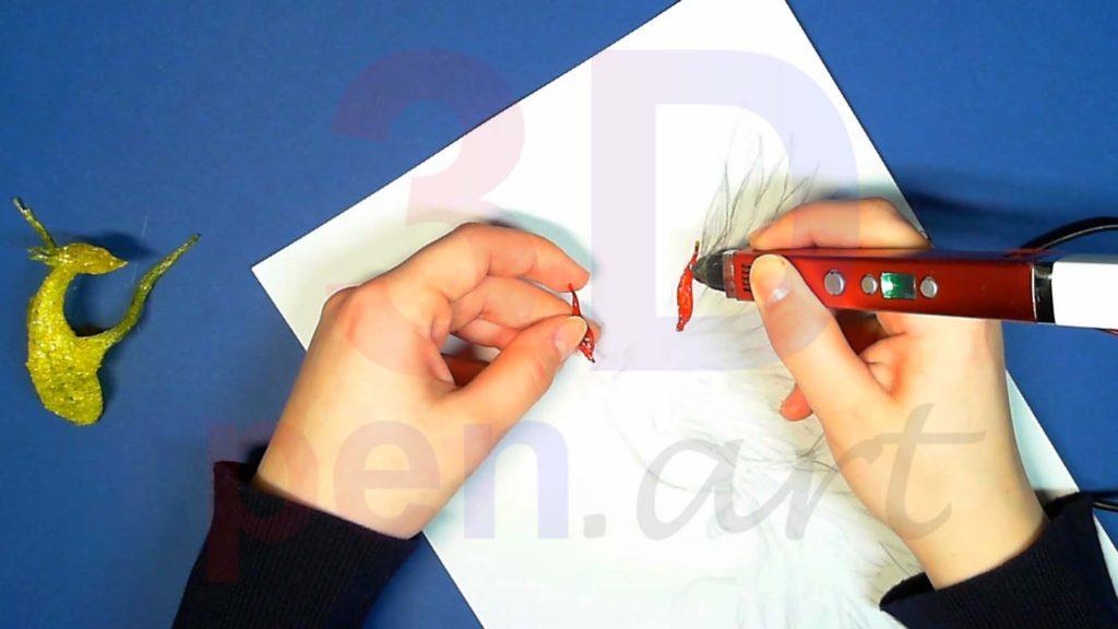 Феникс 3D ручкой. Красные перья