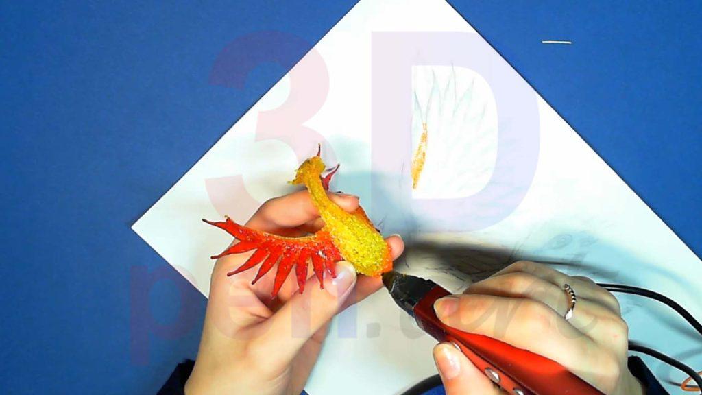 Феникс 3D ручкой. Оперение на теле