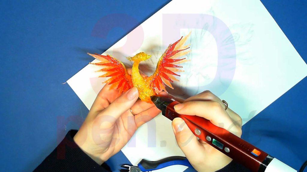 Феникс 3D ручкой. Оранжевые перья