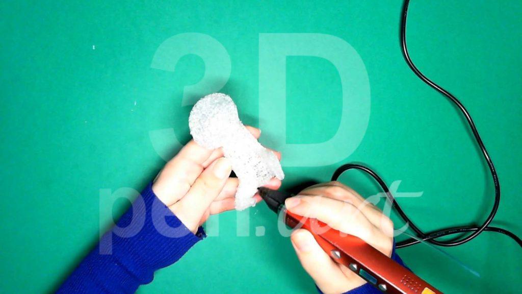 Обезьяна 3D ручкой. Нижние лапы. Шаг 5