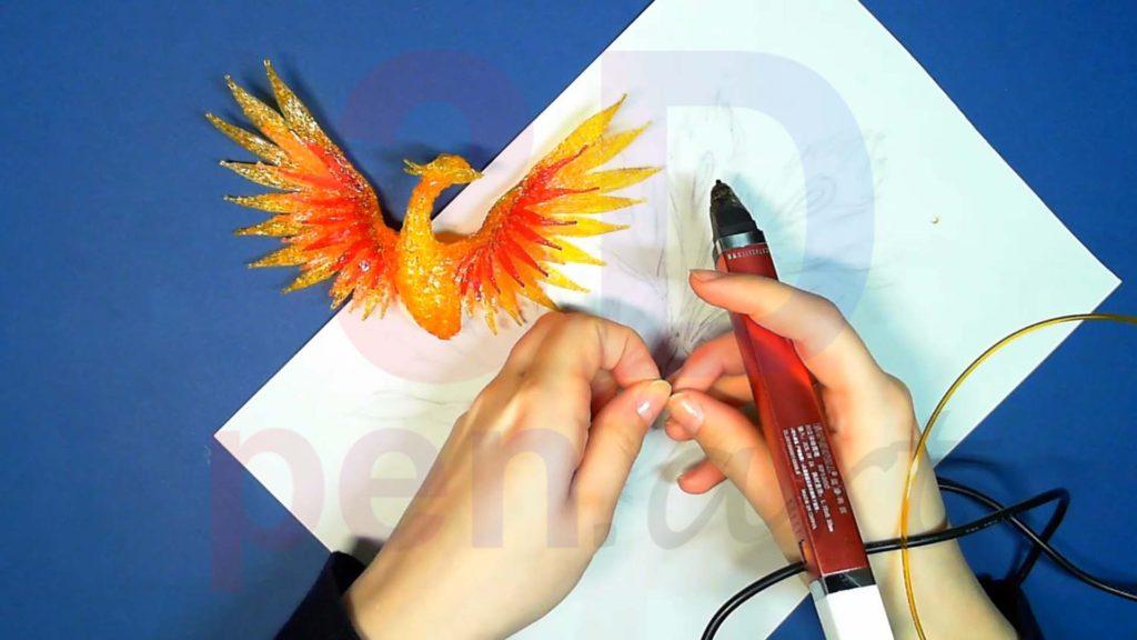 Феникс 3D ручкой. Золотые перья
