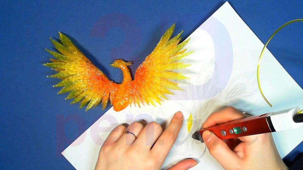 Феникс 3D ручкой. Жёлтые перья