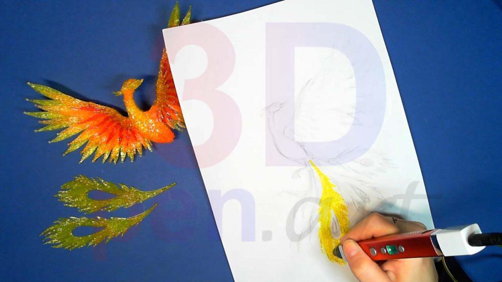 Феникс 3D ручкой. Перья хвоста
