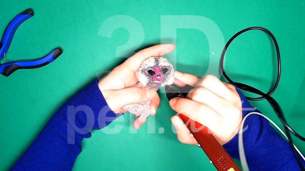 Обезьяна 3D ручкой. Штриховка белым