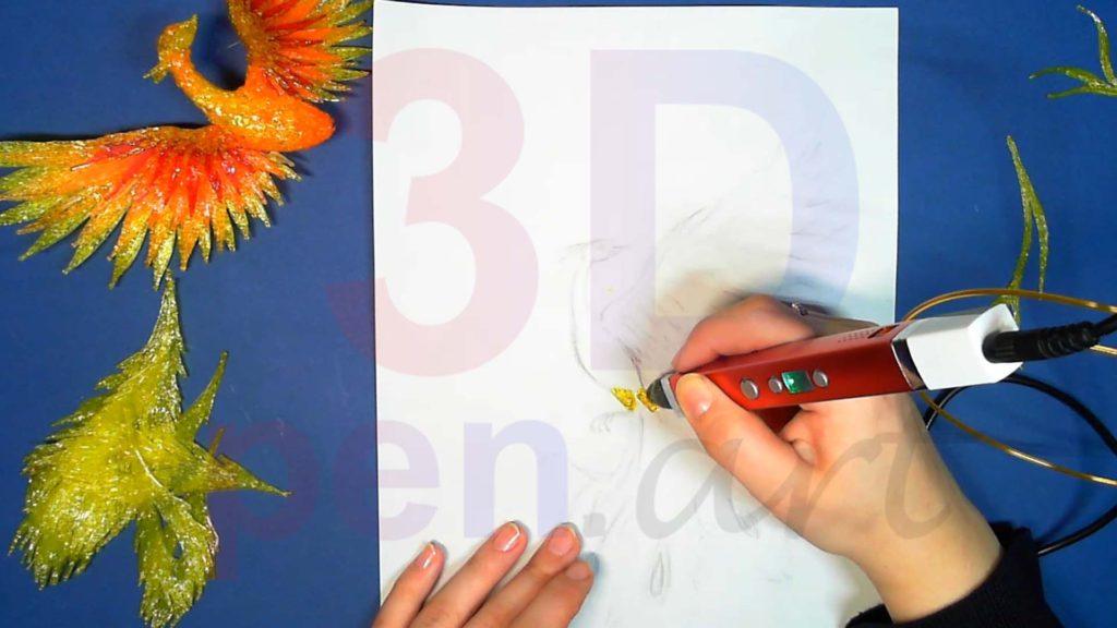 Феникс 3D ручкой. Основы лап