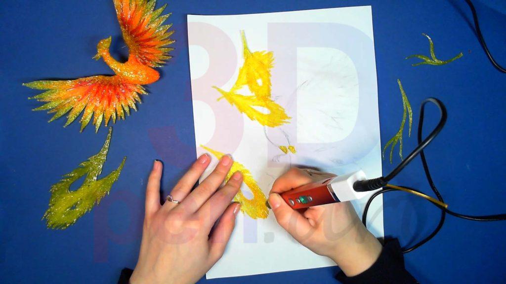 Феникс 3D ручкой. Добавляем золотой на перья хвоста