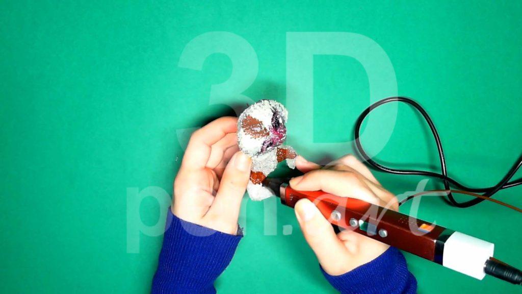 Обезьяна 3D ручкой. Штриховка коричневым