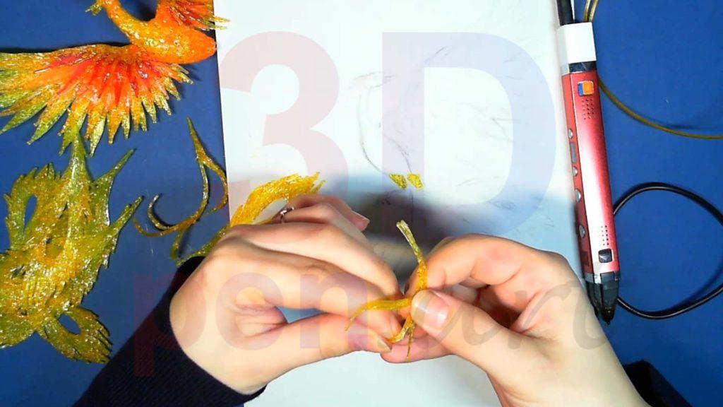 Феникс 3D ручкой. Меняем форму украшениям для хвоста